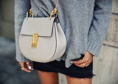 We love the Chloé Drew bag in gray.
