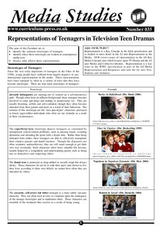 1 Number 035www.curriculum-press.co.uk Representations of Teenagers in Television Teen Dramas M tudiesSedia Stereotypes of Teenagers Since the very early depic…