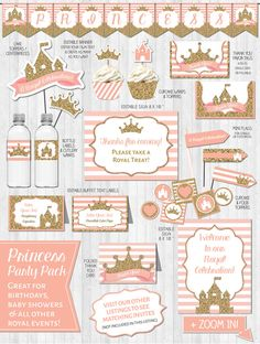 INSTANT DOWNLOAD Princess Party Decor Gold Birthday Party Princess Baby Shower Royal Pink Gold by LaBelleStudio