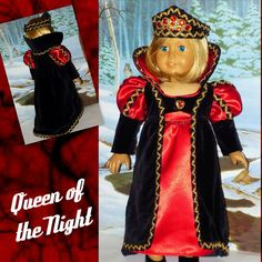 """Queen of the Night"" Velvet and Satin American Girl Doll Vampire Halloween Costume by CsbsewsDollClothes, $72.00"