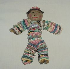 RARE Vintage African American Black Folk Art Yo Yo Quilt Pieces Doll w Braids