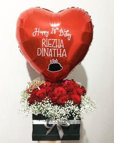 Bloom flower box with heart shape balloon