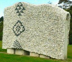 Woven Maori pebble rug