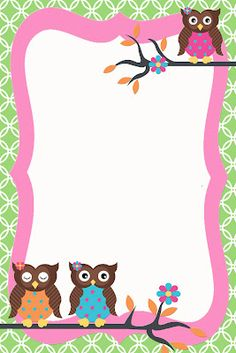 Two cute designs for you today featuring super cute OWLS! Just add your custom text using your favorite photo editing site. I work . Borders For Paper, Borders And Frames, Owl Invitations, Owl Wallpaper, Owl Birthday Parties, Owl Classroom, School Frame, Binder Covers, Note Paper