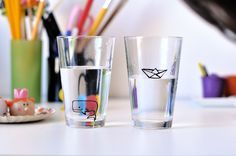 use porcelain markers to doodle drinking glasses into fun children's drink ware!