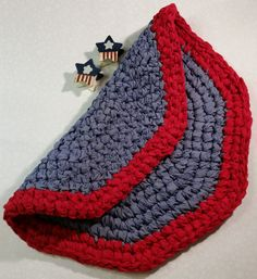 Country Area Rug NAVY & RED 22 hand crocheted rug by MombieDesigns