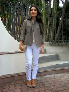neutral layers and military jacket