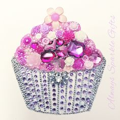 Pink and lilac cupcake Button art