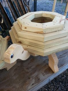 Learn Woodworking turtle planter - Woodworking creation by allen newman - Woodworking Projects For Kids, Woodworking School, Learn Woodworking, Wooden Crafts, Diy Wood Projects, Woodworking Plans, Woodworking Furniture, Woodworking Techniques, Easy Projects
