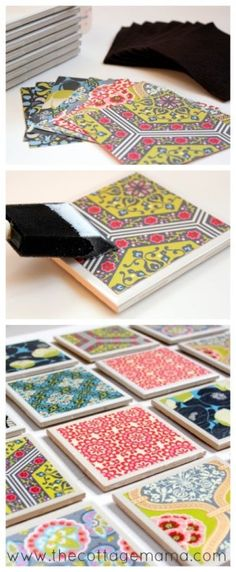 The best DIY projects & DIY ideas and tutorials: sewing, paper craft, DIY. Diy Crafts Ideas There's nothing better than a handmade gift and this Tile Coaster Tutorial will do the trick! Cute Crafts, Creative Crafts, Crafts To Make, Easy Crafts, Arts And Crafts, Crafty Craft, Crafty Projects, Diy Projects To Try, Crafting
