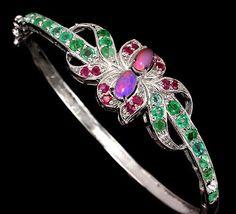 925 Silber Natural Feueropal Rubin Smaragde Armband Armreif