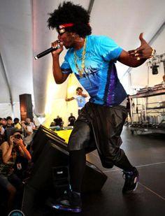 "#TrinidadJame$ wearing #AirJordan V ""Grape"" Black"