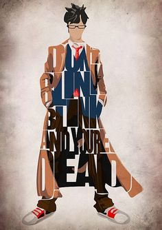 Doctor Who Print - David Tennant as the Tenth Doctor from Doctor Who TV Series - Minimalist Illustration Typography Art Print Poster via Etsy David Tennant, Doctor Who Tv, 10th Doctor, Matt Smith, Detective, Serie Doctor, Schrift Design, Don't Blink, Torchwood