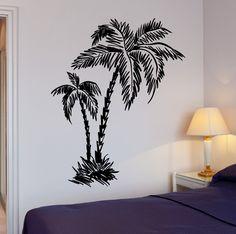 Wall Stickers Murals, Wall Decals, Vinyl Art, Vinyl Decals, Beach Relax, Palm Trees Beach, Tree Sketches, Metal Shop, Mural Art