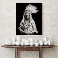 Native American Indian Photography, Black and White, 1900, Indigenous American, Chief, Native Portra