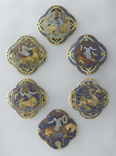 Limoges c. Medallions and hinges from a secular casket Champlevé enamel on gilded copper Gift of the Society of Friends of the Louvre, 1981 Department of Decorative Arts OA 10889 Louvre Museum, Paris Old Jewelry, Enamel Jewelry, Fine Jewelry, Jewelry Ideas, Antique Jewellery, Jewlery, Medieval Embroidery, Medieval Jewelry, Byzantine Jewelry