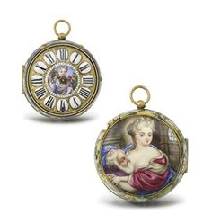 Jean Duhard. A large, rare and early gilt brass and enamel openface oignon verge watch, enamel in the manner of Mussard SIGNED DUHARD A BORDEAUX, CIRCA 1700