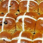From the International Baked Goods Breakfast Recipe Collection. These make great breakfast rolls.  Traditions says that if you share your hot cross bun with a friend, you will be friends forever.