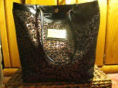 Betsy Johnson purple Leopard LARGE Handbag Shoulder Bag TOTE #BetseyJohnsonBETSYVILLE #TotesShoppers