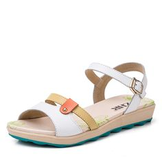 Summer Sandals women/Flat leather flat sandals/Colour matching girl students sandals >>> Continue to the product at the image link. (This is an affiliate link and I receive a commission for the sales)