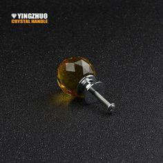 2017 5pcs 30mm Yellow Crystal Glass Handle Knob Furniture Door Kitchen Cabinet Drawer Wardrobe Ball Shape Pull Handles Yz-2003