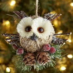 Round Natural Owl Ornament