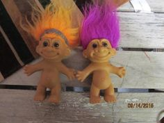 "Vintage Pair Russ Troll Dolls 5"" Orange Hair Purple Hair Brown Hazel Eyes by EvenTheKitchenSinkOH on Etsy"