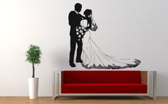 Wall Vinyl Sticker Decals Mural Room Design Pattern Art Bedroom Wedding Couple Love Romance Flower Dress bo2457 by RoomDecalsAndDesigns on Etsy