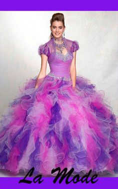 Modern Beaded Ball Gown Tulle Quinceanera Dress via La Mode. Click on the image to see more!