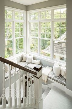 window seat and corner windows halfway down stairs...for back stair case