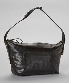 Black Tory Leather Shoulder Bag #zulily #zulilyfinds