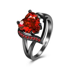 Heart-shaped Red  Zircon  Ring & Romantic Big Heart Ring Crystal Black Gold Filled Cubic Zircon Red Stone Ring Wedding Engagemen