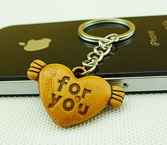 Wood-like Heart with Wings Key Chain for Couple - Gift Ideas Guess You Like It