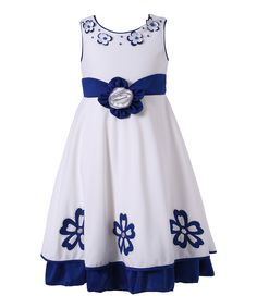 Richie House Blue & White Floral Dress - Toddler & Girls | zulily