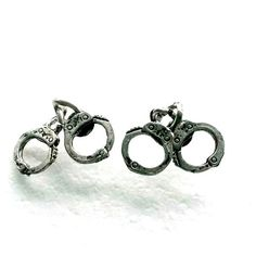 Handcuff Stud Earrings antique silver police post earrings Handmade Gift
