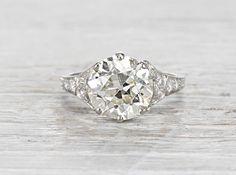 These vintage rings are amazing. 3.93 Carat Edwardian Engagement Ring