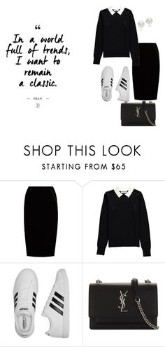 """Classic"" by kety-de-jesus on Polyvore featuring moda, Jupe By Jackie, Essentiel, adidas, Yves Saint Laurent e AK Anne Klein"