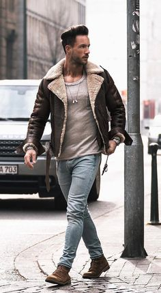 Men Clothing Nadine Din - fall combo idea with a shearling leather lambskin bomber jacket with a tan pocket t-shirt light wash denim watch brown suede boots Denim Jacket Men, Leather Jacket, Men's Denim Jackets, Mens Shearling Jacket, Denim Men, Bomber Jacket Men, Lambskin Leather, Men Looks, Look Fashion