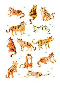 Tiger Illustration Print by Lorna Scobie Shop Etsy Tiger Illustration, Tiger Drawing, Tiger Art, Tiger Tiger, Animal Drawings, Art Drawings, Drawing Art, Kids Prints, Grafik Design