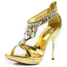 Save 10% + Free Shipping Offer * | Coupon Code: Pinterest10 Material: Man Made Material. 4.25 inches,0.75 inch platform True to size, Sexy Evening Shoes Product Code: May-16 Gold Women's Celeste May-16 Gold Jeweled Rhinestone Evening Shoes