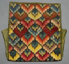Textiles (Needlework) - Pocketbook - Search the Collection - Winterthur Museum Broderie Bargello, Bargello Needlepoint, Needlepoint Pillows, Needlepoint Stitches, Needlework, Cross Stitch Embroidery, Hand Embroidery, Bargello Patterns, Swedish Weaving