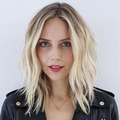 Choppy Blonde Balayage Lob- Haircut ideas for thin hair