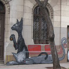 Deux chats. Street Art Santiago du Chili (Photo Marco Descartes)