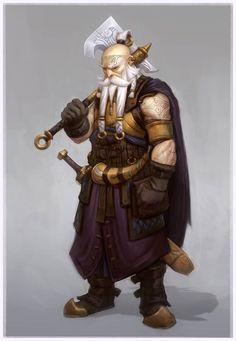 Dwarf male old axe sword horn bald tattoo white beard