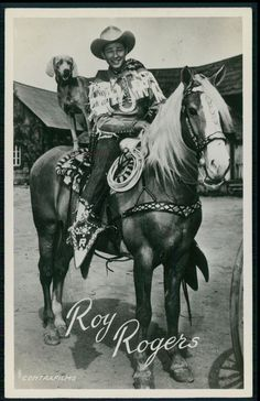 Roy Rogers Cowboy and dog Movie Star film original old 1950s Photo postcard