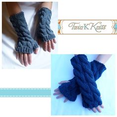 PDF Knitting Pattern for Chunky Cable Wristwarmers/Fingerless Gloves for $3.62