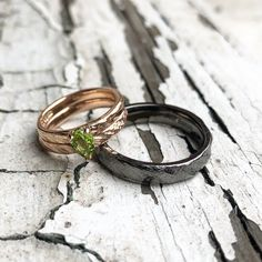 For her: Rose gold and peridot engagement and wedding ring For him: black rhodium plated white gold gents wedding ring. Wedding Ring For Him, Wedding Rings, Black Rhodium, Peridot, Bespoke, My Design, White Gold, Rose Gold, Engagement
