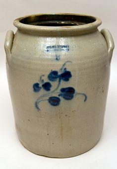 Julius Norton 3 Gallon Blue Decorated Stoneware Crock  I love and collect saltglaze pottery!