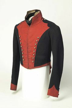 Officer's short-tailed coatee, (King's Royal Irish) Light Dragoons, 1815 (c). Military Chic, Military Looks, Military Fashion, Military Clothing, British Army Uniform, British Uniforms, Historical Costume, Historical Clothing, Military Costumes