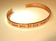 I love you to the moon and back copper cuff bracelet by NiciLaskin